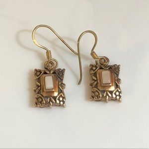 Artisan Copper with Raised Shell Drop Earrings
